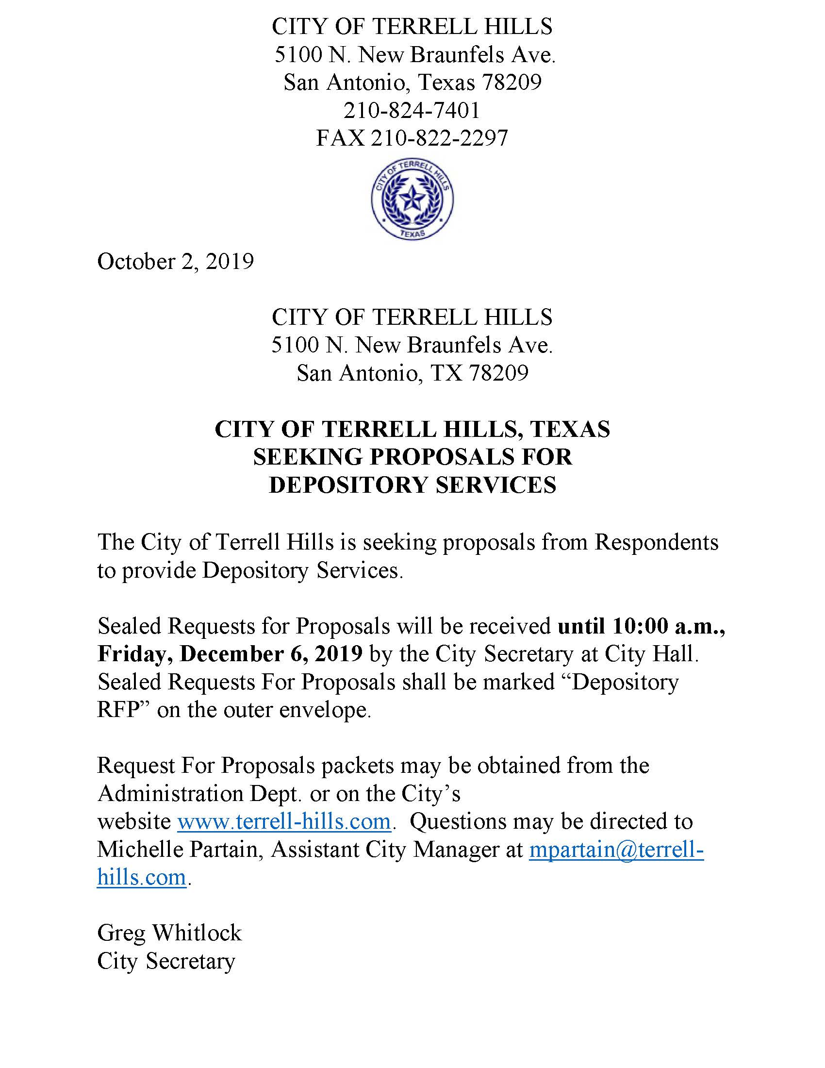 CITY OF TERRELL HILLS PROPOSAL DEPOSITORY SERVICES 19