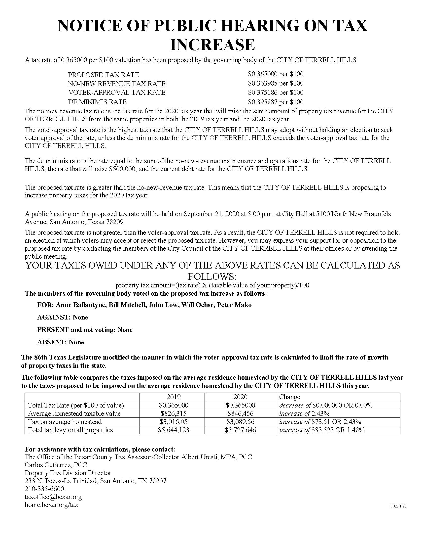 Notice of Public Hearing Tax Rate